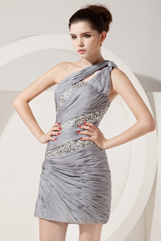 Fitted One Shoulder Mini Length Silver Grey Chiffon Wedding Guest Dress