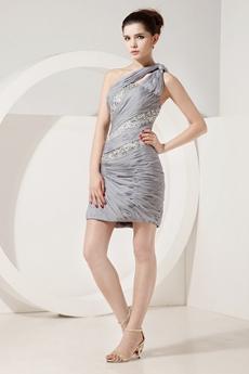 Fitted One Shoulder Mini Length Silver Grey Chiffon Wedding Guest Dress