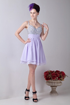 Adorable Spaghetti Straps A-line Mini Length Lilac Homecoming Dress