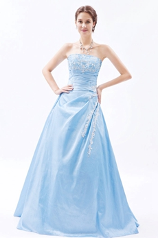 Dazzling Strapless Light Sky Blue Taffeta Princess Sweet Fifteen Dress