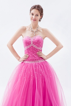Shallow Sweetheart Hot Pink Tulle Princess Vestidos de Quinceanera Dress