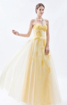 Pretty Sweetheart Pale Yellow Organza Princess Quinceanera Dress