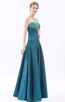 Special Sweetheart Puffy Full Length Taffeta Teal Colored Princess Quinceanera Dress