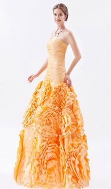 Great Handwork Sweetheart Puffy Floral Quinceanera Dress