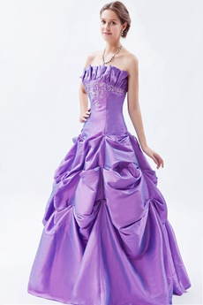 Pretty Strapless Taffeta Lilac Princess Quinceanera Dress