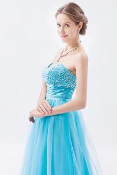 Beautiful Sweetheart Tulle Material Blue Princess Quinceanera Dress
