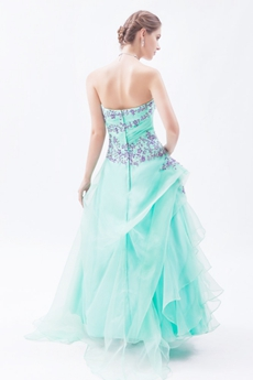 Stunning Full Length Organza Aqua Princess Quinceanera Dress