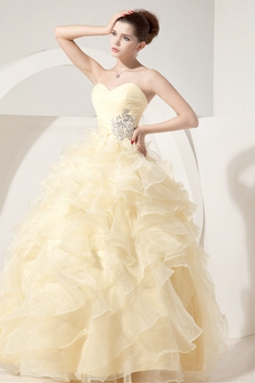 Beautiful Sweetheart Puffy Organza Pale Yellow Quinceanera Dress