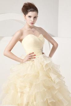 Beautiful Sweetheart Puffy Organza Pale Yellow Quinceanera Dress