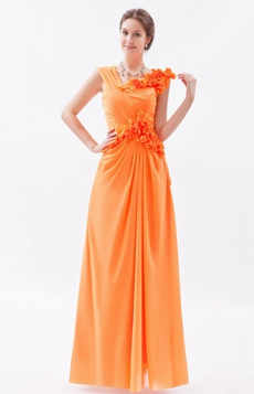 Asymmetrical Straps Column Full Length Orange Chiffon Prom Gown