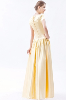 Modest Short Sleeves Column Long Yellow Bridesmaid Dress
