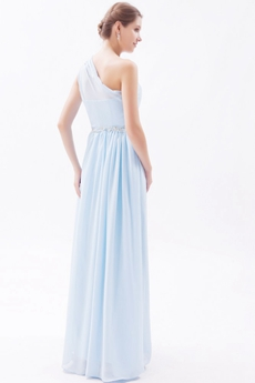 Noble One Shoulder Chiffon Light Sky Blue Bridesmaid Dress