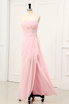 Pretty Sweetheart Column Full Length Pink Chiffon Graduation Dress For College