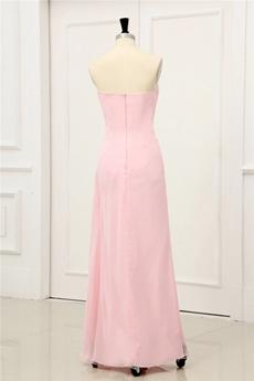 Pretty Sweetheart Column Full Length Pink Chiffon Graduation Dress For College