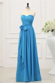 Straight Full Length Blue Chiffon Bridesmaid Dress With Sash