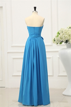 Straight Full Length Blue Chiffon Bridesmaid Dress With Sash