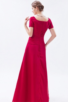 Short Sleeves Column Red Mother Of The Bride Dress