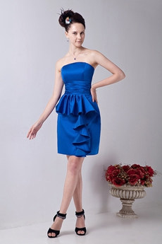 Mini Length Column Royal Blue Satin Cocktail Dress With Frills