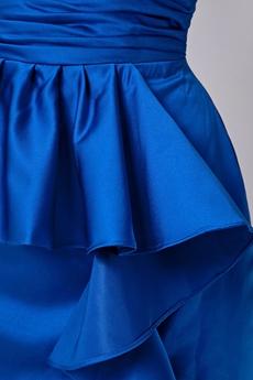 Mini Length Column Royal Blue Satin Cocktail Dress With Frills