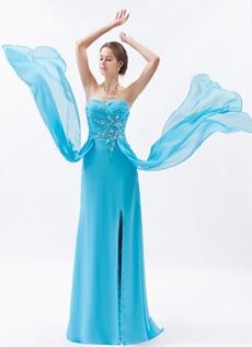 Sassy Sweetheart A-line Full Length Blue Chiffon Evening Dress Front Slit
