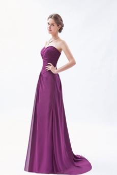 Graceful Sweetheart A-line Chiffon Grape Color Prom Dress