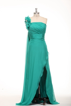 Fantastic One Shoulder Chiffon Teal High Low Graduation Dress