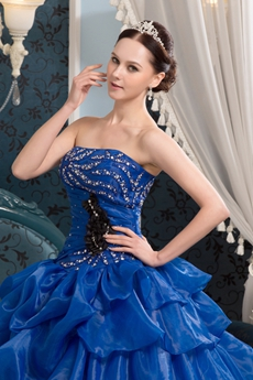 Magical Strapless Ball Gown Floor Length Royal Blue Quinceanera Dresses With Rosette