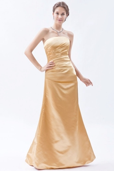 Strapless Satin A-line Gold Long Prom Dress