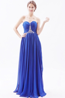 Stylish Sweetheart Chiffon Royal Blue Plus Size Prom Dress