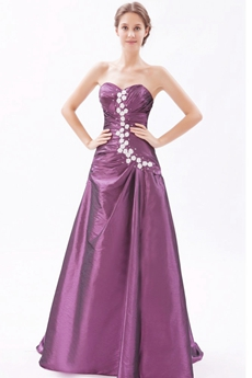 Pretty Sweetheart Grape Taffeta Princess Quinceanera Dress