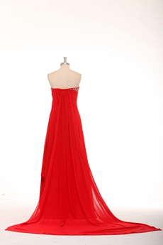 Strapless A-line Red Chiffon Formal Evening Dress With Ribbon