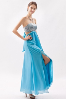 Strapless Ankle Length Blue & Silver Graduation Dress For 8th Grade