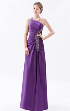 Magnificent One Shoulder Straight Satin Purple Evening Dress