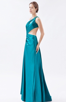 Sexy One Shoulder Teal Colored Evening Dress Front Slit