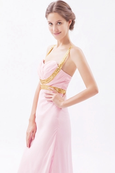Grossed Straps Back Pink Chiffon Graduation Dress For College