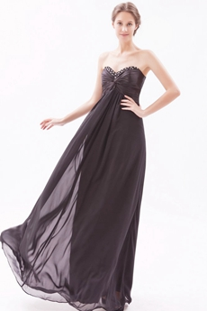 Sweetheart Chiffon Black Long Graduation Dress For 8th Grade