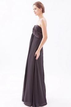 Sweetheart Chiffon Black Long Graduation Dress For 8th Grade