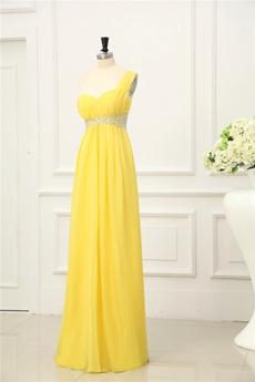 Pretty One Shoulder A-line Daffodil Chiffon Bridesmaid Dress