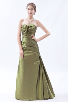 Sweetheart A-line Taffeta Green Prom Dress With Corset Back