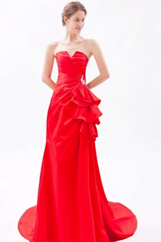 Cowl Neckline A-line Red Satin Prom Dress