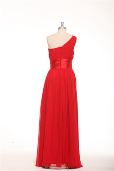 One Shoulder Plus Size Red Chiffon Formal Evening Gown