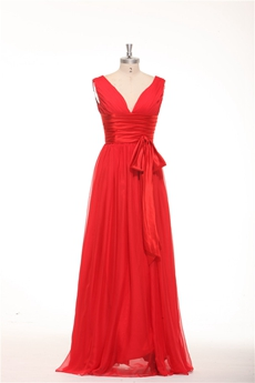 Plunge Neckline Column Red Chiffon Junior Prom Gown