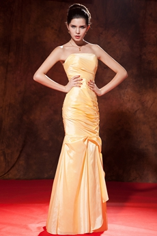 Qualified Full Length Trumpet/Mermaid Gold Formal Evening Dress