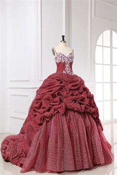 Victoria Sweetheart Burgundy Wedding Dresses with Chapel Train