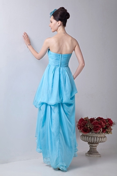Lovely Sweetheart Chiffon Blue High Low Prom Dress
