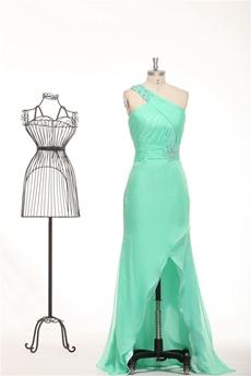 One Shoulder Chiffon Aqua High Low Graduation Dress