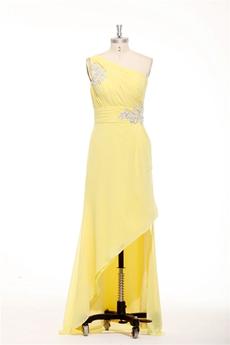 Cute One Shoulder Chiffon Yellow High Low Prom Dress