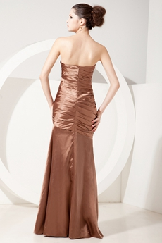 Exquisite Strapless Sheath Full Length Brown Mother Of The Bride Dress