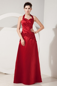 Affordable Hater Neckline Dark Red Satin Graduation Dresses For College