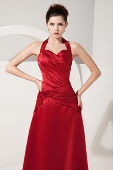 Affordable Hater Neckline Dark Red Satin Graduation Dresses For College